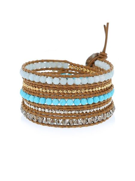 Chan Luu multi wrap turquoise mix bracelet - gold/silver nuggets