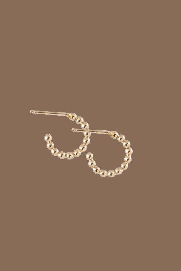 One Six Five Beaded Hoop - gold