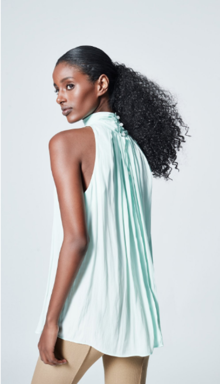 Smythe Sleeveless Turtleneck Drape Blouse - celadon