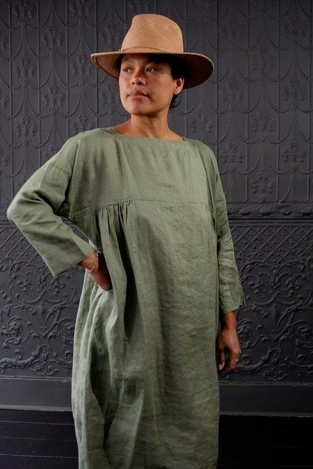 Basco Yoke Dress - OLIVE