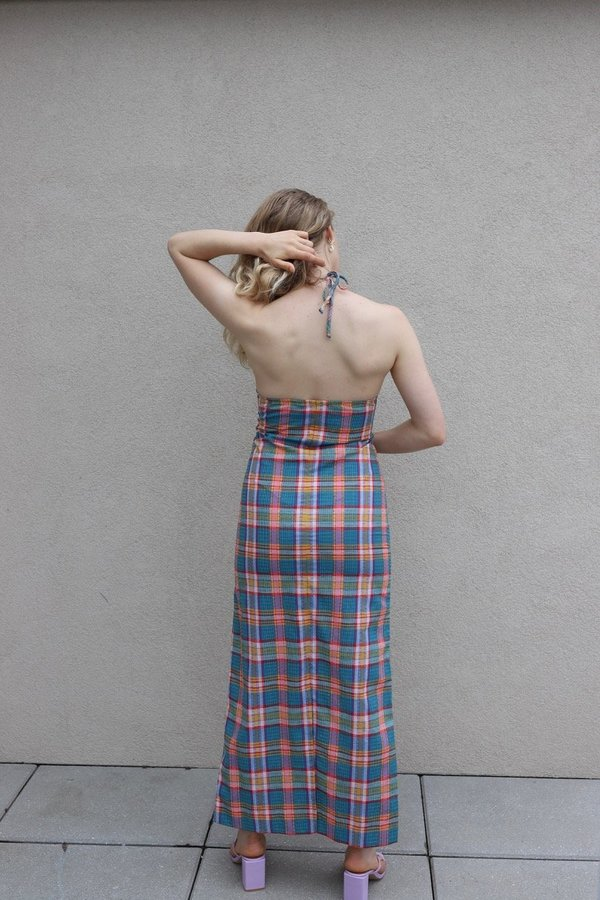 Vintage 1970s Halter Dress - Plaid