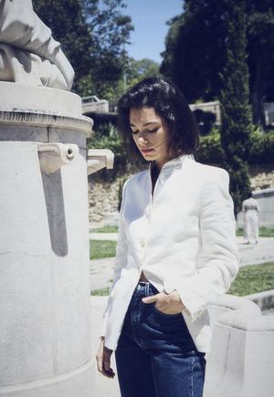 Vintage Linen Mandarin Jacket - White