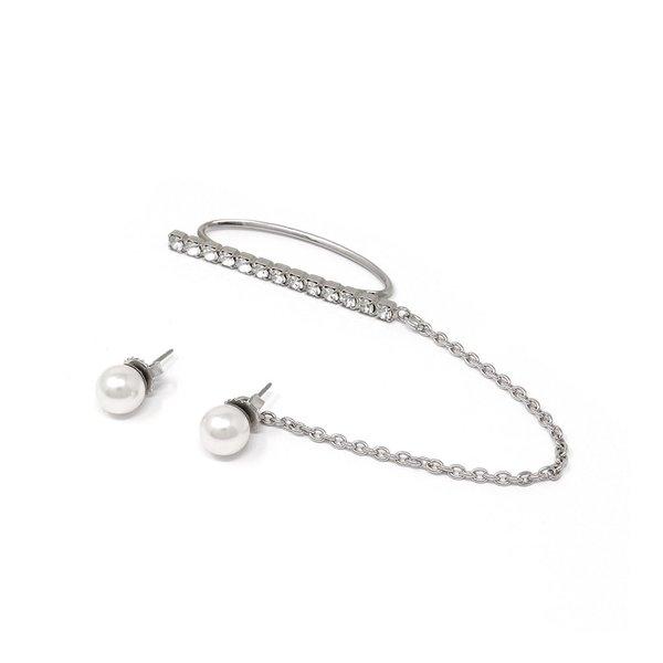 Joomi Lim Crystal Ear Cuff W/ Pearl - Rhodium/White