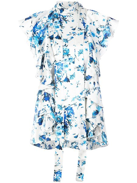 Adam Lippes Floral Hammered Silk Tie Blouse W/ Ruffle Sleeve - Ivory/Blue
