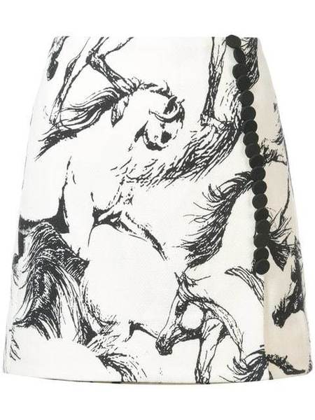 Adam Lippes Printed Wool Mini Wrap Skirt with Buttons - Ivory Pony
