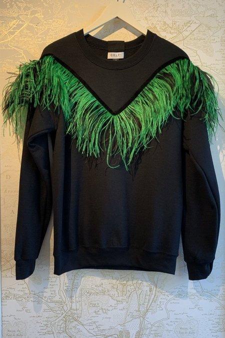 DELFI COLLECTIVE Feather Sweatshirt - Black/Green