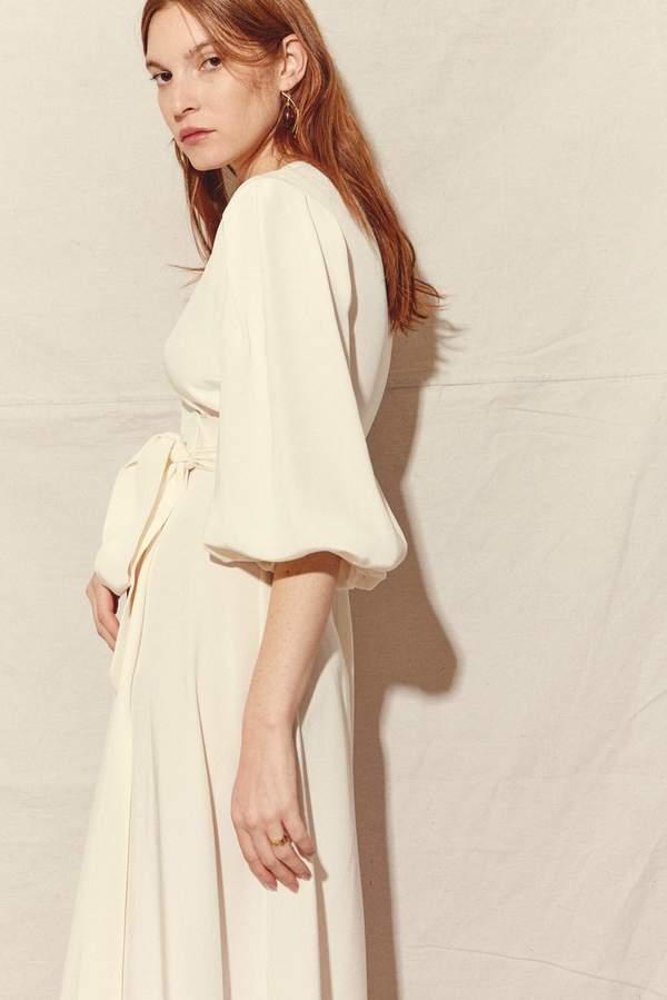 Kamperett Loretta Silk Wrap Dress White Garmentory