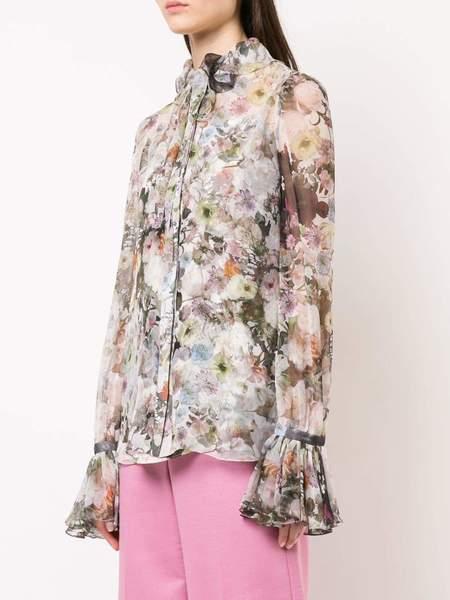 Adam Lippes Printed Chiffon Blouse W Ruffle Collar - White Floral