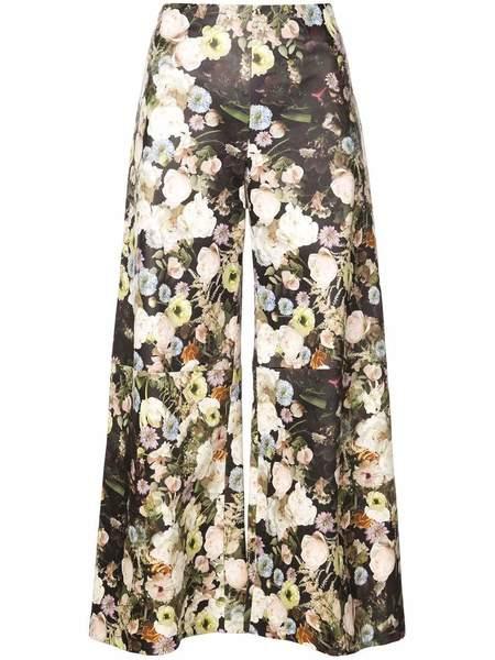 ADAM LIPPES Leather Wide Leg Culotte - Black Floral