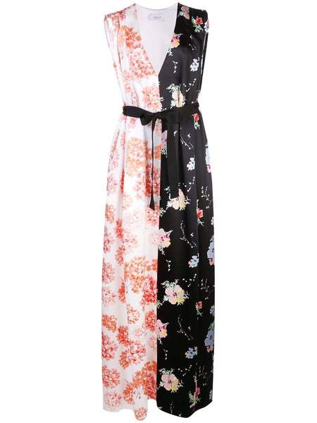 ARIAS Mixed Print VNeck Gown With Belt - Hydrangea/Black Floral