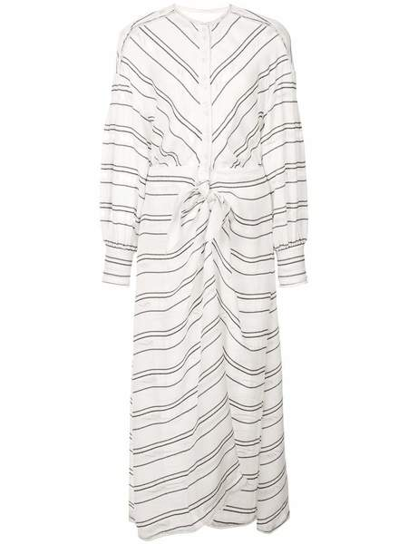 PROENZA SCHOULER Crepe Striped Tie Long Sleeve Dress