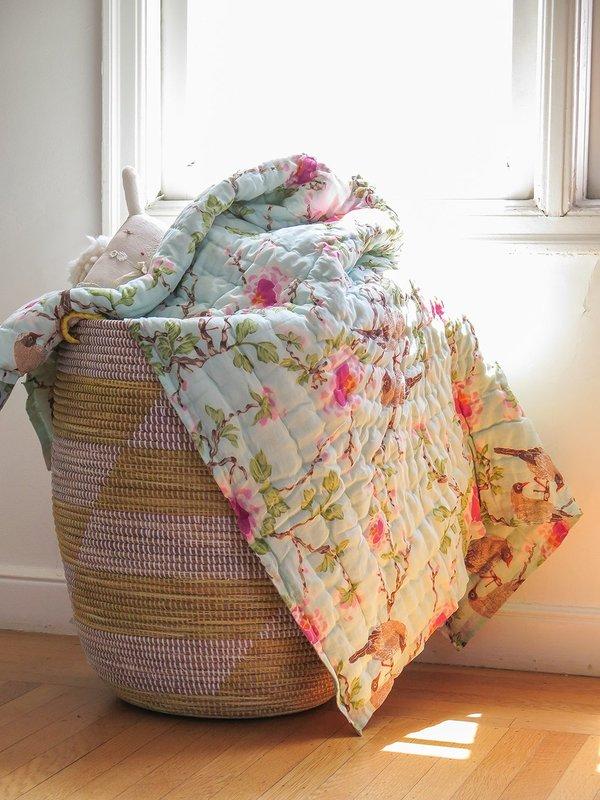 Erica Tanov lovebird baby quilt - aqua