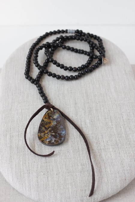 CLP Long Wood Bead and Boulder Opal Necklace
