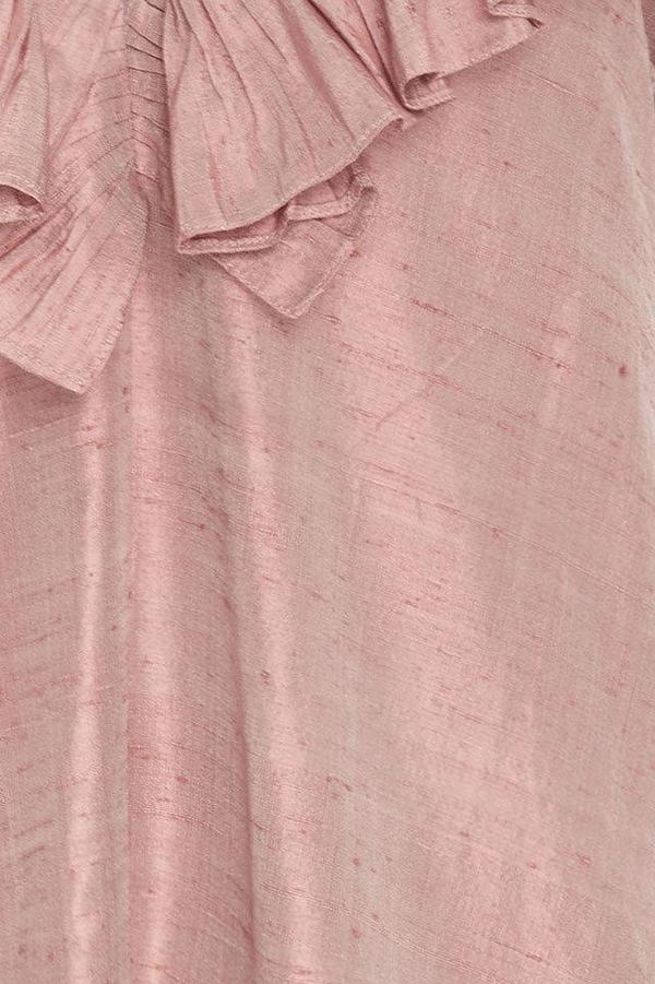 Christine Alcalay Ruffle Neck Silk Mini Dress