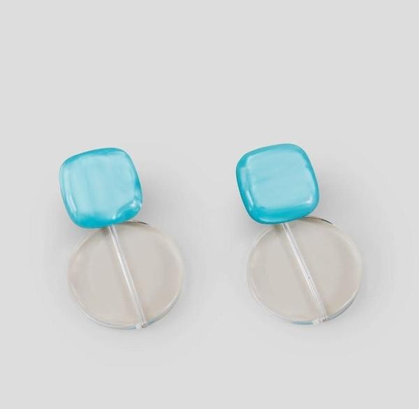 Rachel Comey Arc Earrings - Aqua/Clear