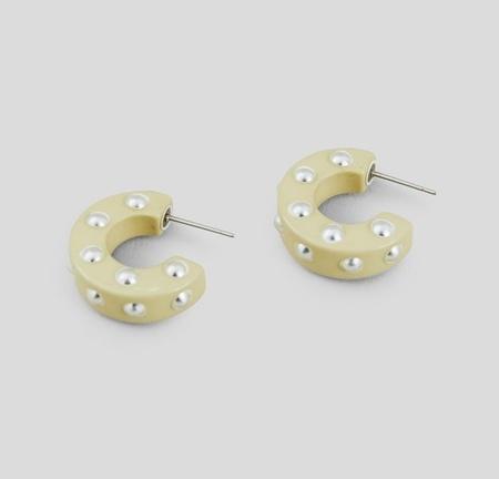 Rachel Comey Cuba Earrings - Vanilla Silver Stud