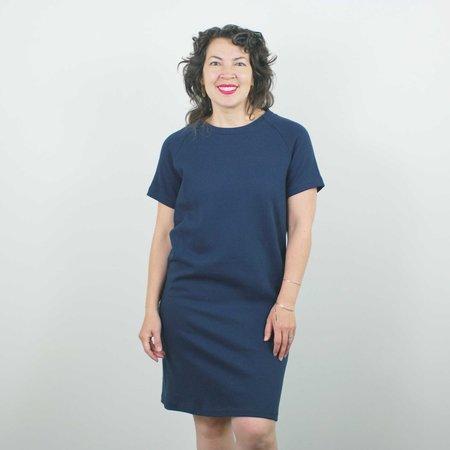 Atelier b. Straight Cut Dress w/Sleeve - Navy