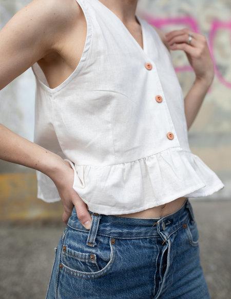 Conrado Agnes Ruffle Top - White