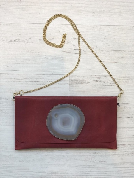 Krava LEATHER WITH GRAY STONE - RED
