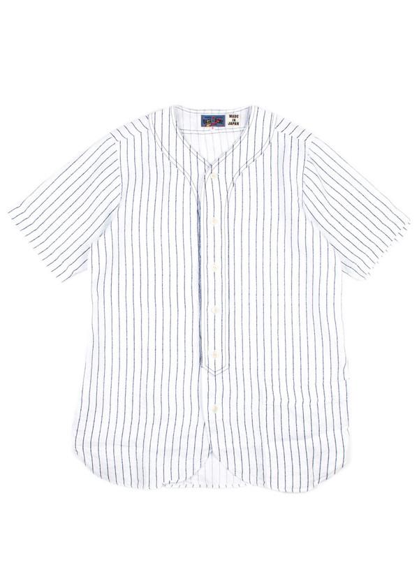 104a2f76e1e Men's Blue Blue Japan Woven Linen Twill Baseball Shirt | Garmentory