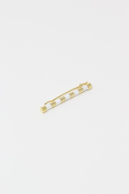 Abby Carnevale Striped Barrette with Hand Painted Resin - White/Gold
