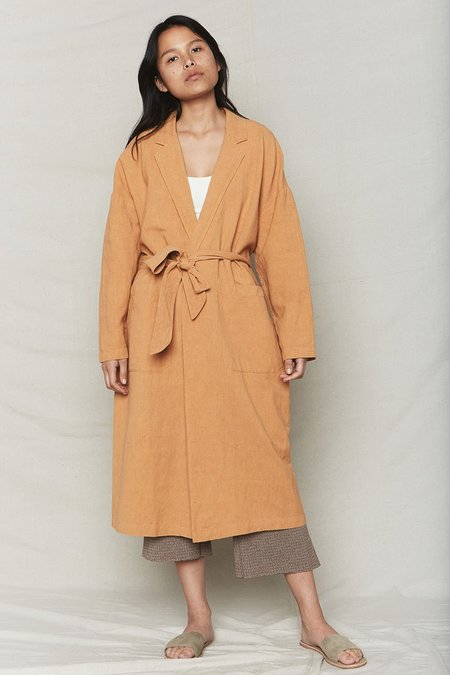 back beat rags Plant Dyed Linen Easy Robe - Melon