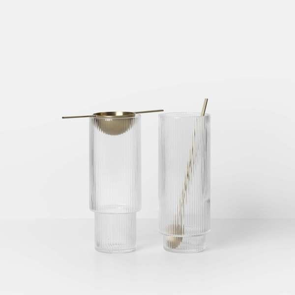 Ferm Living Ripple set of 4 long glasses