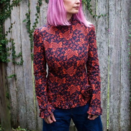 Batsheva Rosette Shirt - Red Grape