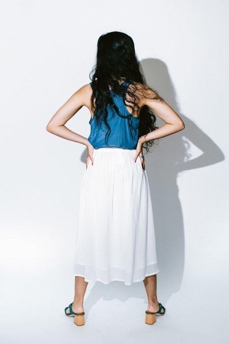 lola and sophie distressed satin shirttail tank - denim blue