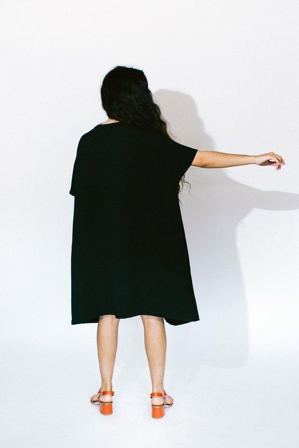 KAAREM jam short sleeve front seam midi dress - black blue