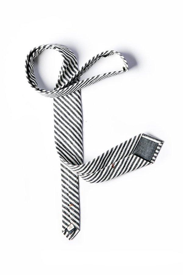 Kathrine Zeren Necktie - Cream/Charcoal Stripe