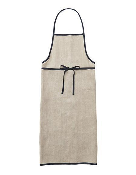 Fog Linen Work Linen Apron with Piping