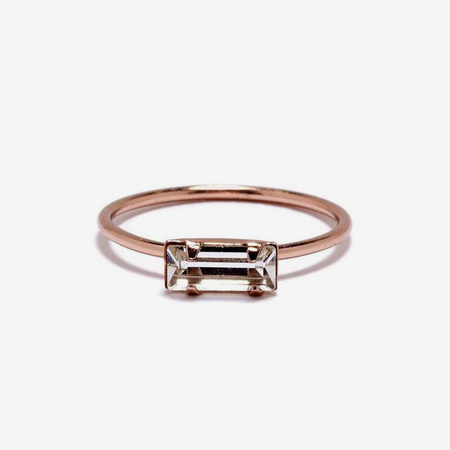 Bing Bang NYC Tiny Baguette Ring - Rose Gold/Clear Crystal
