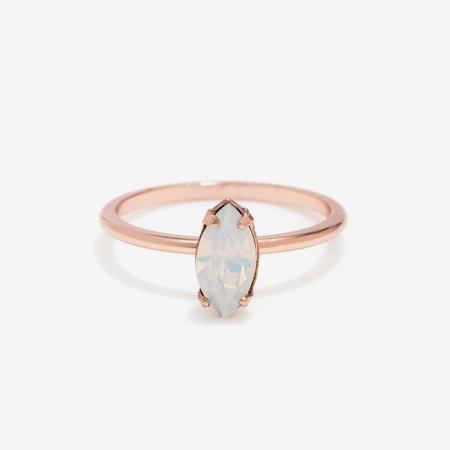 Bing Bang NYC Tiny Marquis Ring - Rose Gold/Opal