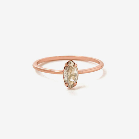 Bing Bang NYC Tiny Marquis Ring - Rose Gold/Clear Crystal