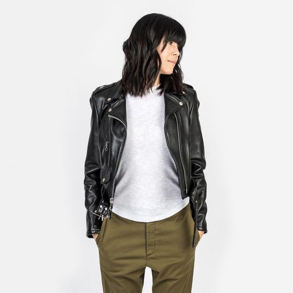 dfba6c8f3 Schott Cropped Perfecto Lambskin Leather Jacket - Black on Garmentory