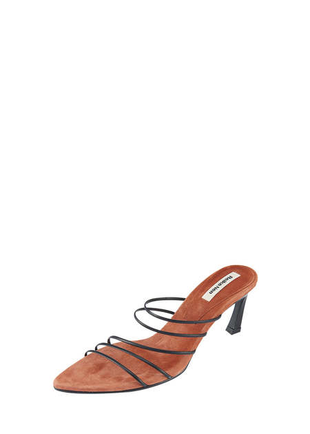 Reike Nen 5 Strings Pointed Sandals - Black/Rose Pink
