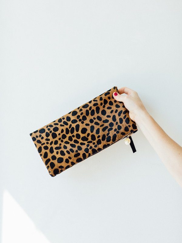 100% quality quarantee lace up in complete in specifications Clare V. Foldover Clutch - Leopard on Garmentory