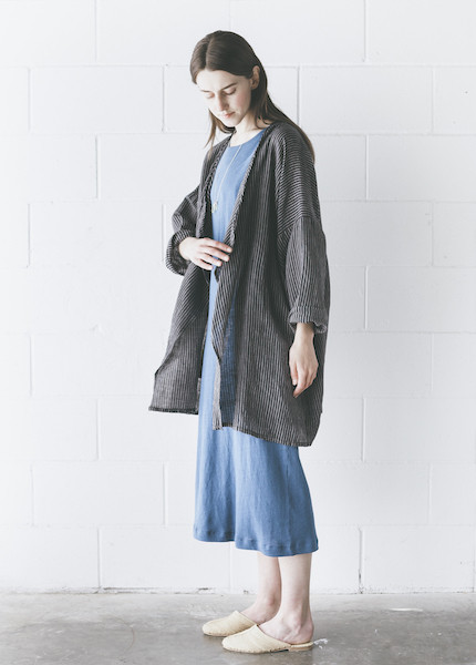 Maiwa - Dhania Coat in Navy with Cream Stripe