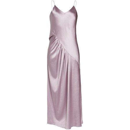 Lake Studio Gathered Silk-Satin Maxi Dress - PURPLE