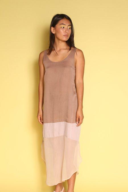 "Vintage ""Intentionally __________.""  Archive 2058 Silk Dress - Beige"