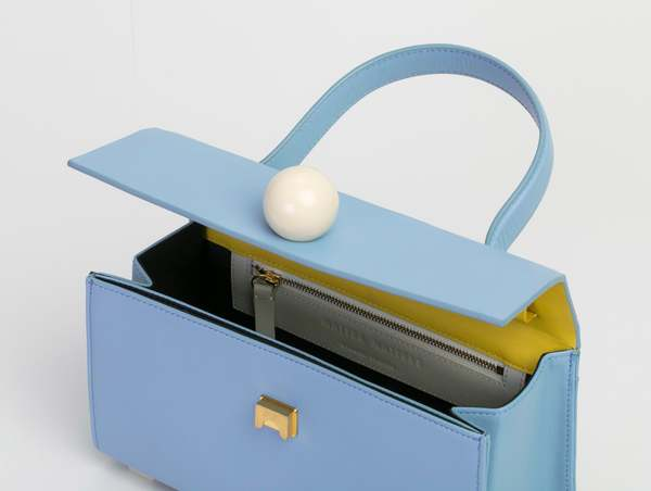 Matter Matters Mini Trapezoid Satchel Bag With Strap - Light Blue
