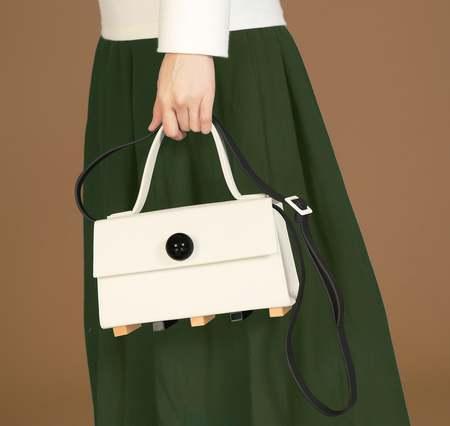 MATTER MATTERS Mini Trapezoid satchel bag with strap - Beige