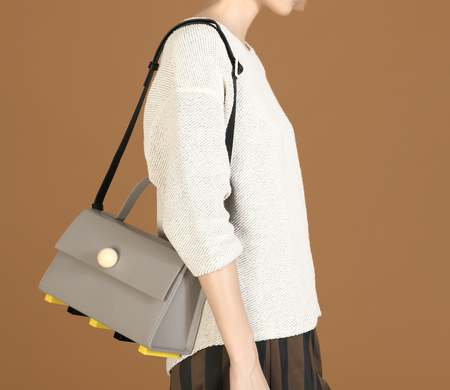 Matter Matters Trapezoid Satchel Bag With Strap - Grey