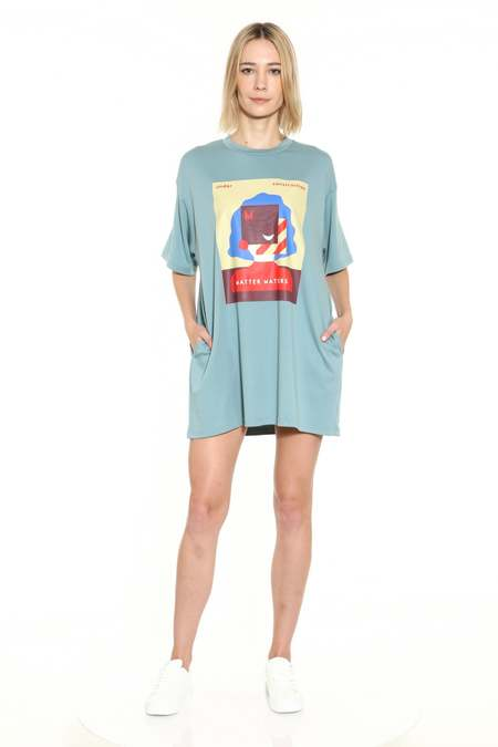 MATTER MATTERS oversized T shirt dress - Light Blue