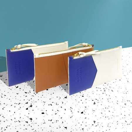 Matter Matters Mini Zipped Pouch - Blue/Beige