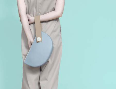 Matter Matters Half Moon Clutch - Light Blue/Tan