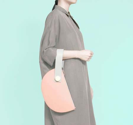 Matter Matters Half Moon Clutch - BLUSH/LIGHT GREY