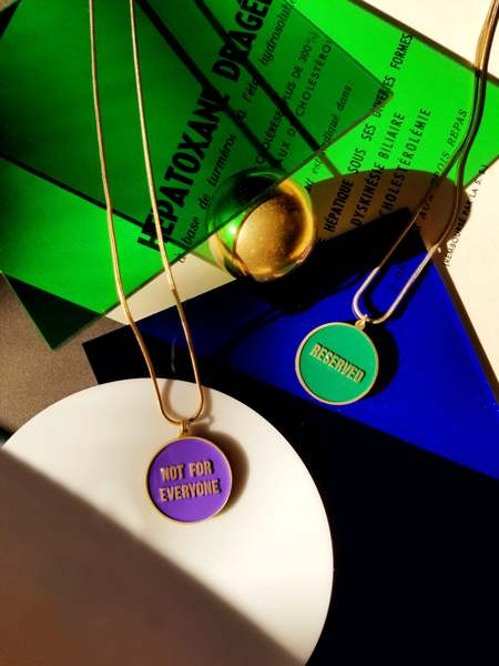 Matter Matters Not for Everyone/Reserved Reversible Necklace - Green/Purple