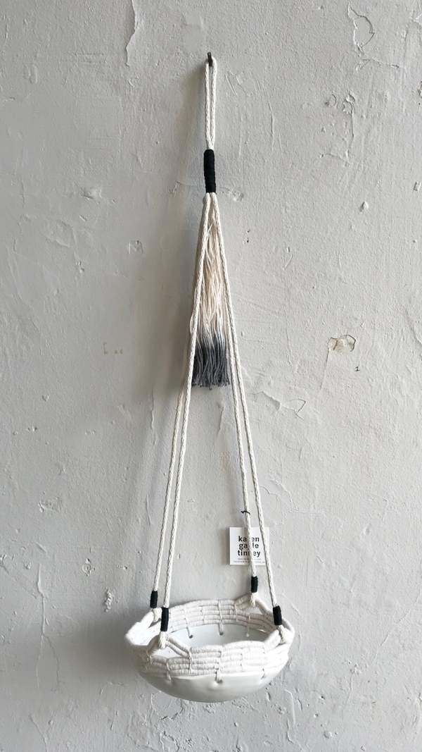 Karen Gayle Tinney Hanging Stoneware Basket - Black